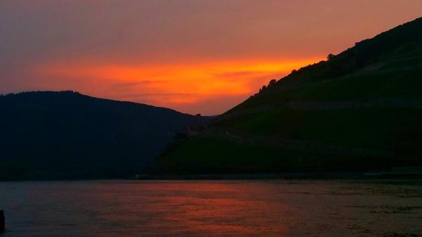Sonnenuntergang Bingen Rhein Lampen Henrich