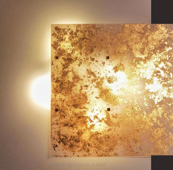 Deckenleuche, quadratisch, LAM, Royal, Blattgold, warmes Licht, Lampen Henrich, Bingen, daslichthaus, Lichtplanung